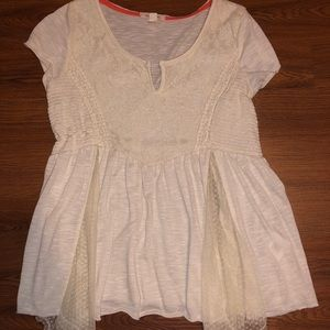 Cream flowy lace top